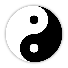 In Chinese philosophy, yin and yang symbol describes how apparently opposite or contrary forces are actually complementary, interconnected, and interdependent in the real world.